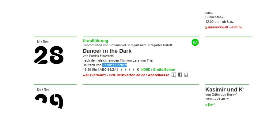 DANCER N THE DARK in Stuttgart